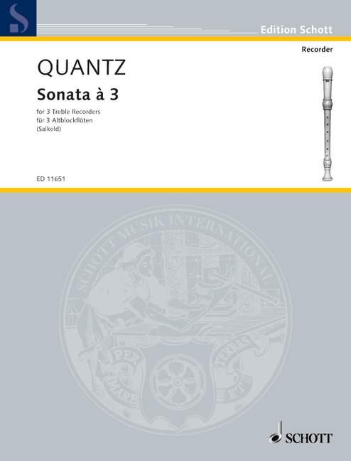 Sonata à 3 Quantz Johann Joachim performance score 3 treble recorders 9790220
